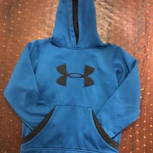 Blue with black logo boys under armour hoodie